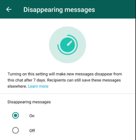 On Disappering Message on Whatsapp