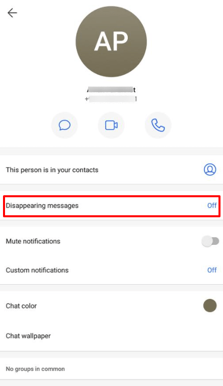 Signal app Disappering message